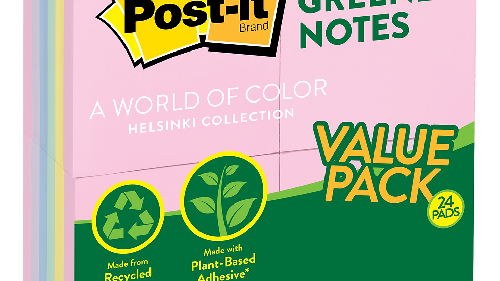 Post-it® Greener Notes 654RP-24AP, 3 in x 3 in (76 mm x 76 mm) Helsinki colors
