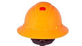 3M Full Brim Hard Hat Hi-Vis Orange 4-Point Ratchet Suspension with Uvicator