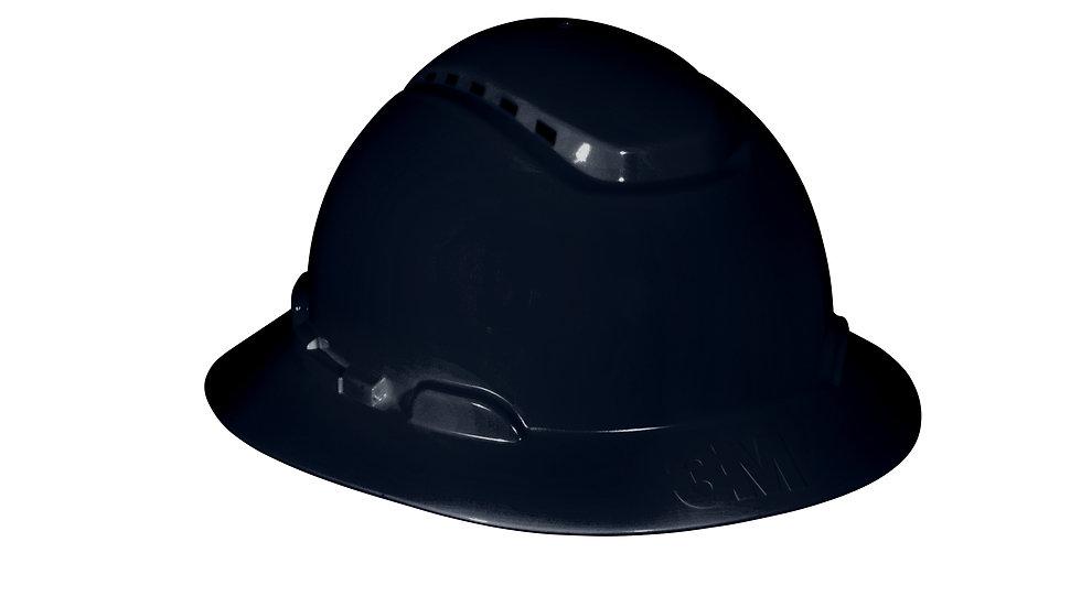 3M™ Full Brim Hard Hat H-812V, Black, 4-Point Ratchet Suspension, Vented