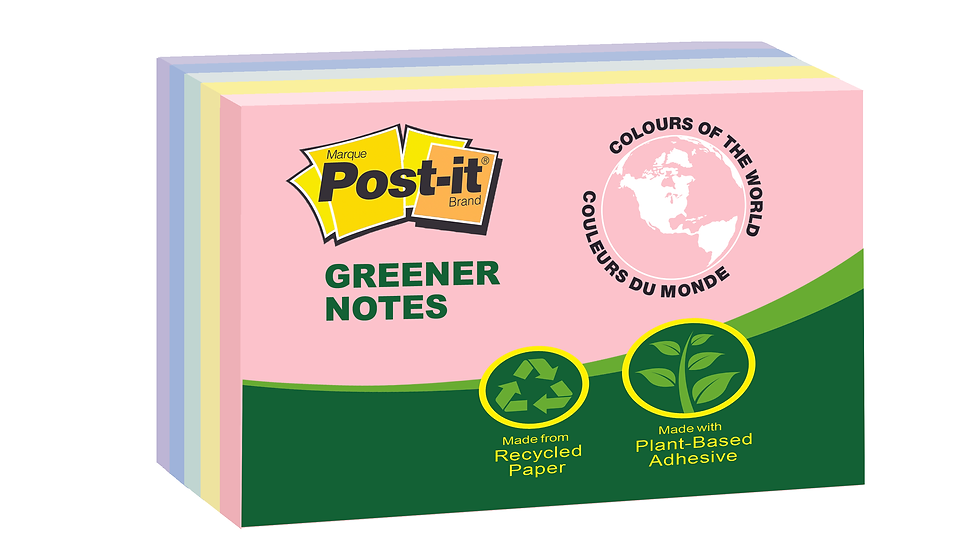 Post-it® Notes 655-RP, 3 in x 5 in Canary Yellow