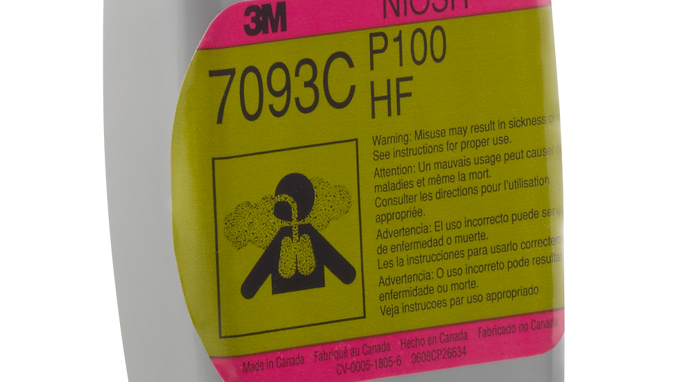 3M™ Hydrogen Fluoride Cartridge/Filter 7093CB, P100, with Nuisance Level