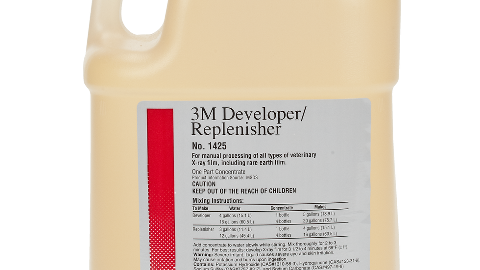 3M™ Veterinary X-ray Manual Processing Chemicals - Developer, 1 Gallon Bottle