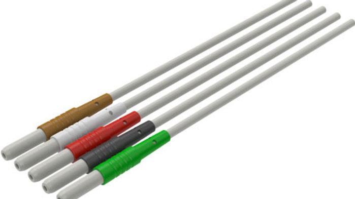 "ECG Reusable Leadwire, 5-Lead, Safety DIN, Mini Pinch, 29"", 1 EA, D29206"