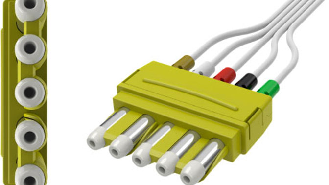 YMDLW5S LEADWIRE SET, DISPOSABLE, 5 LEAD, AMC&E DIN TO SNAP, WITH COMBINER