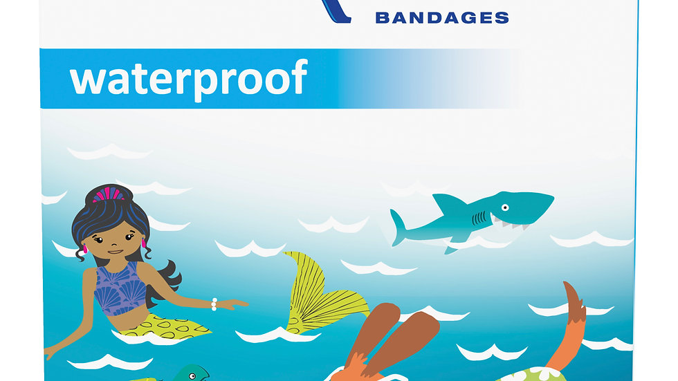 Nexcare™ Waterproof Bandages Oceanic Collection 597-16OC, 1.06 in x 2.25 in