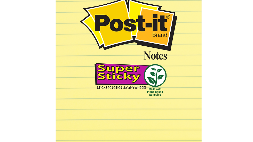 Post-it® Super Sticky Notes 4621-SSCY, 4 in x 6 in Canary Yellow Lined