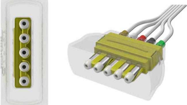 """ECG Disposable Leadwire, 5-Lead, Universal DIN, Mini-Pinch Connect, 50"""""""
