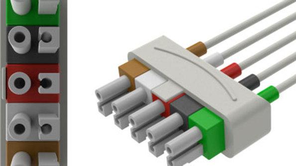 "ECG Reusable Leadwire, 5-Lead, Philips Twin Pin, Snap, 51"", 1 EA, AA51106"