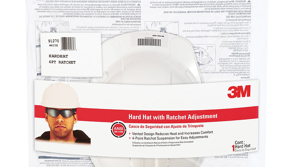 3M™ Vented Hard Hat with Ratchet Adjustment 91270-80025T, White