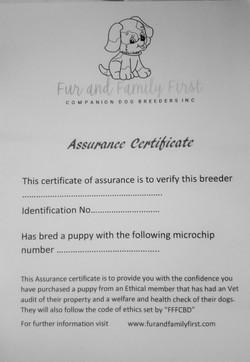Assurance Certificate