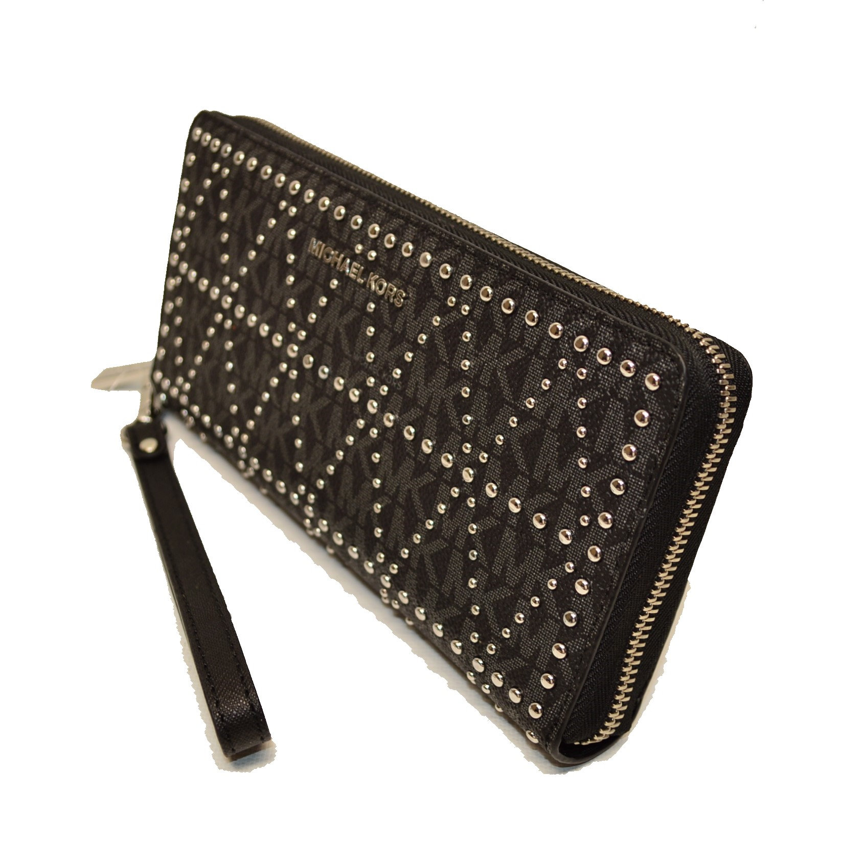 30ffb632b50047 Michael Kors Black Money Pieces Studded Lg Leather Logo Zip Clutch Wristlet  Wal