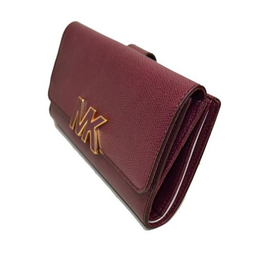 7907d44ab69 Michael Kors Plum Florence Large Billfold Emb Leather Clutch Wallet