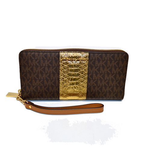 a9b51d1a180 Michael Kors Brown / Gold Travel Clutch Money P Emb Leather Phone Wristlet  Wall