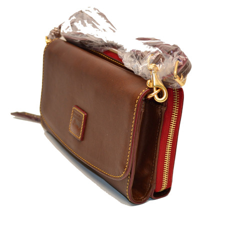 2c380bcf7 DOONEY and BOURKE FLORENTINE ITALIAN LEATHER CROSSBODY CLUTCH / LARGE WALLET  CONVERTIBLE CHESTNUT GORGEOUS & GUARANTEED AUTHENTIC