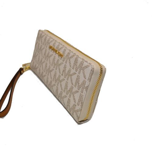 c6c22c04146 Michael Kors Vanilla / Acorn Travel Clutch Signature Emb Leather Phone  Wristlet