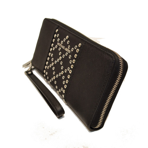 fe0d2000b796db Michael Kors Black Money Pieces Studded Lg Leather Zip Clutch Wristlet  Wallet