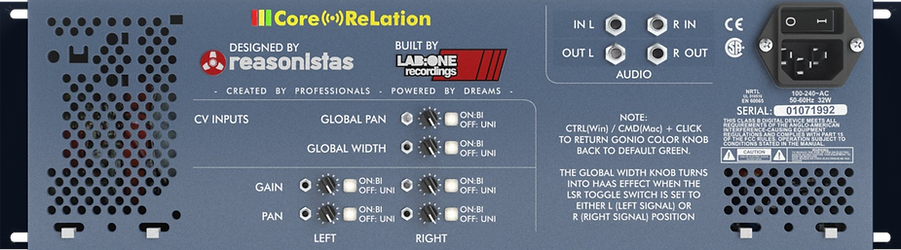 Reasonistas CoreReLation Phase Analyzer for Reason - Back Panel
