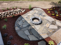 Storm Mountain Flagstone Patio With Fire Pit