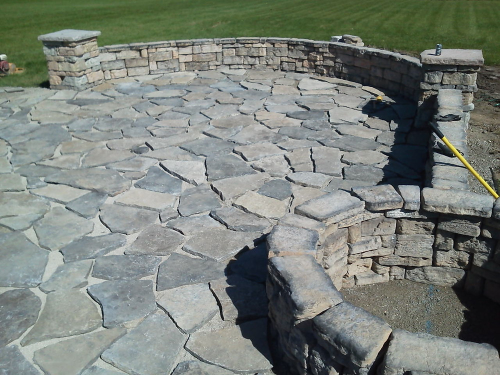 Seat Walls, Pillars, Flagstone Patio with Fire Pit