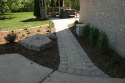 Brick Paver Walk Way In Side Yard By All Terra Landscape Services Of Lansing MI