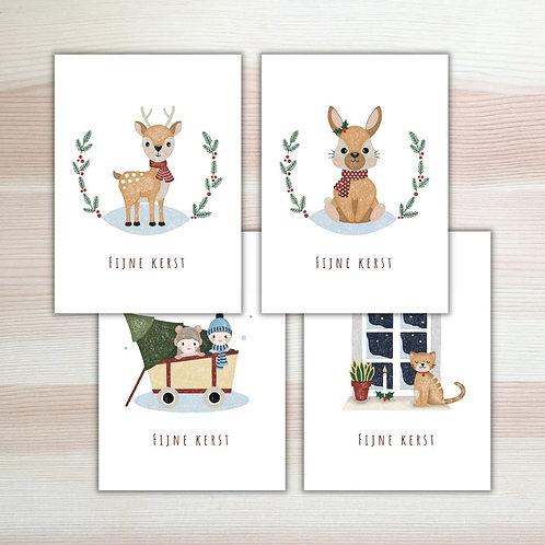 Set van vier kerstkaarten naar keuze Lesja illustratries
