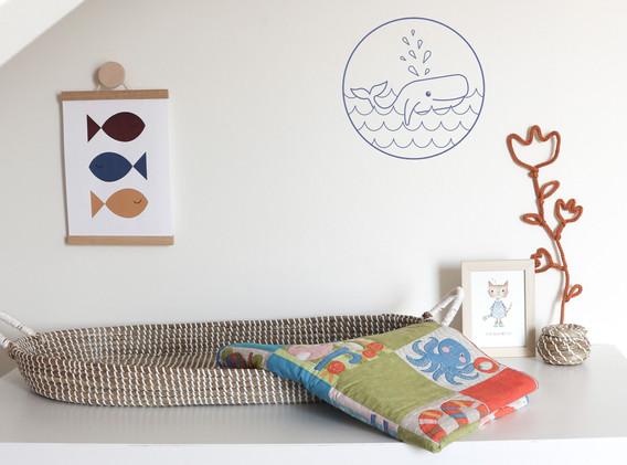 Moonwalk Teddybear x Lesja illustraties muurcirkel walvis