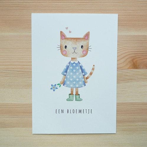 Ansichtkaart 'Een bloemetje' van Lesja illustraties