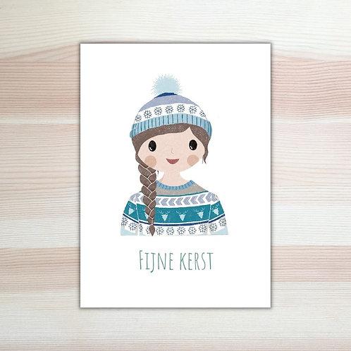Kerstkaart 'meisje' van Lesja illustraties Breda