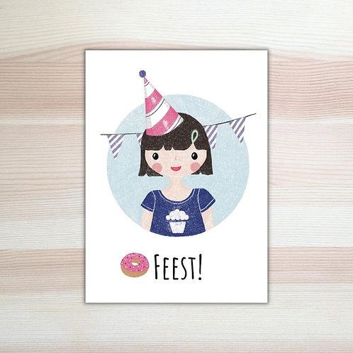 Verjaardagskaart 'feest' van Lesja illustraties Breda