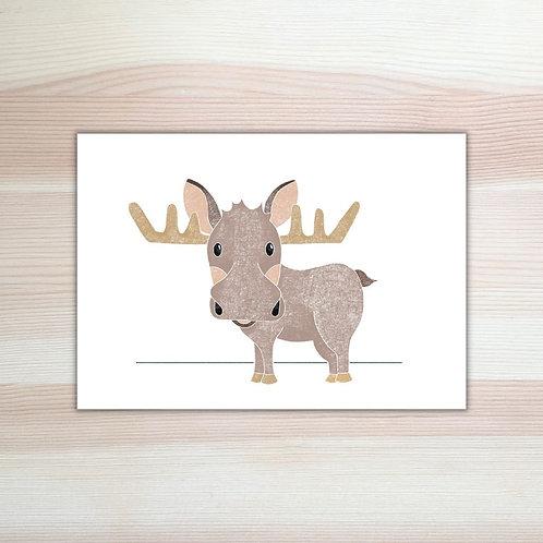 Kerstkaart 'eland' van Lesja illustraties Breda