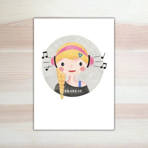Ansichtkaart 'muziek' van Lesja illustraties Breda
