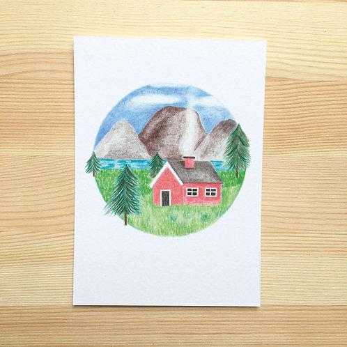 Ansichtkaart 'Noors huisje' van Lesja illustraties