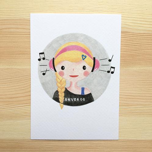 Ansichtkaart 'music' van Lesja illustraties