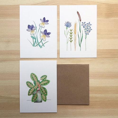 Set ansichtkaarten 'plant power' Lesja illustraties