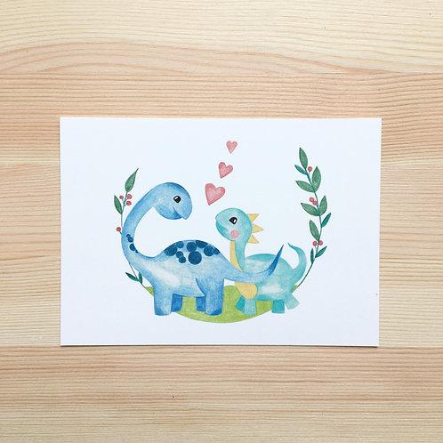 Ansichtkaart 'schattige dino's' van Lesja illustraties