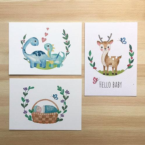 Set ansichtkaarten 'baby' Lesja illustraties
