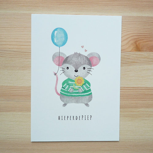 Verjaardagskaart 'Hieperdepiep' met lief muisje