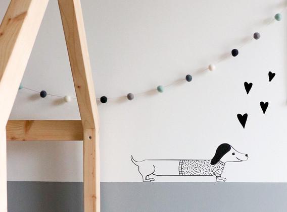Moonwalk Teddybear x Lesja illustraties muursticker teckel