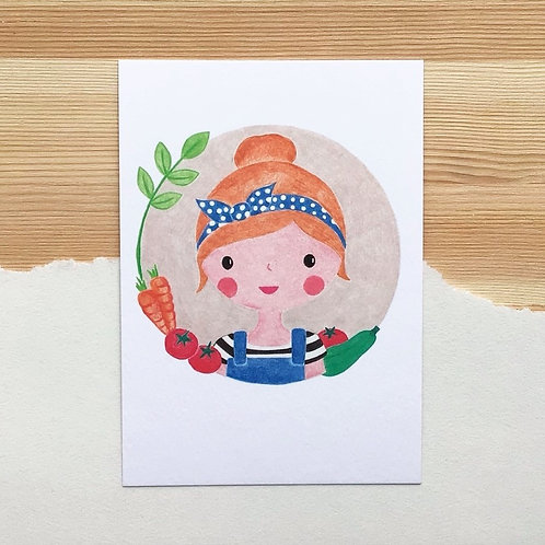 Ansichtkaart 'moestuinmeisje' van Lesja illustraties