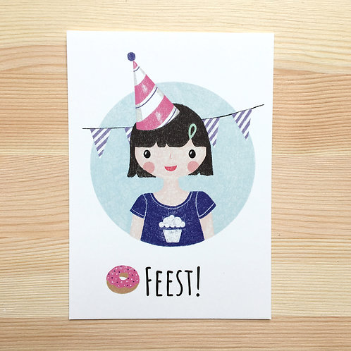 Ansichtkaart 'feest' van Lesja illustraties