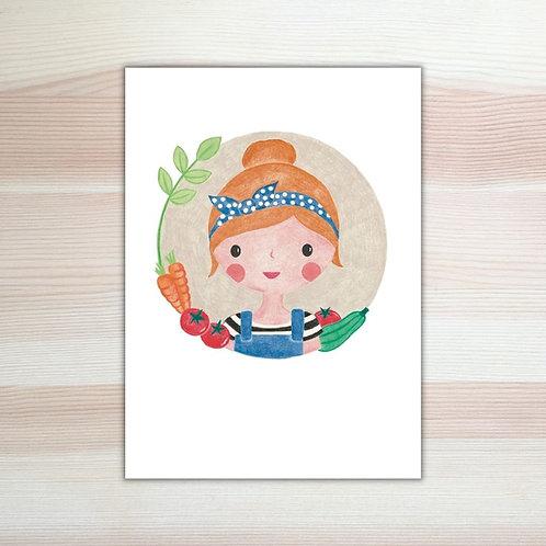 Ansichtkaart 'moestuinmeisje' van Lesja illustraties Breda