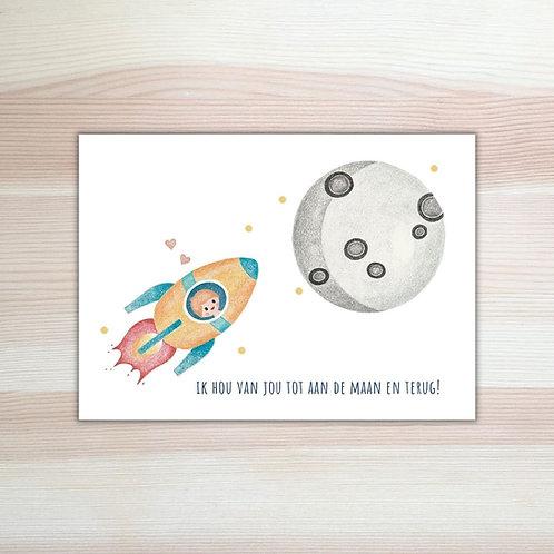 Kaart 'tot aan de maan en terug' met envelop van Lesja illustraties