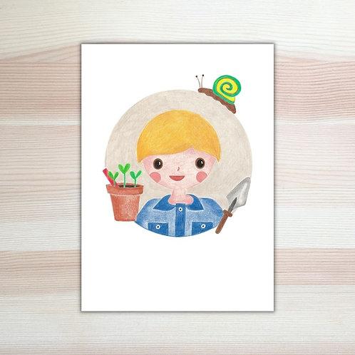 Ansichtkaart 'max in de moestuin' van Lesja illustraties