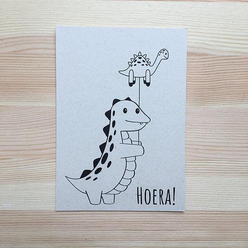 Ansichtkaart 'feest dino' van Lesja illustraties