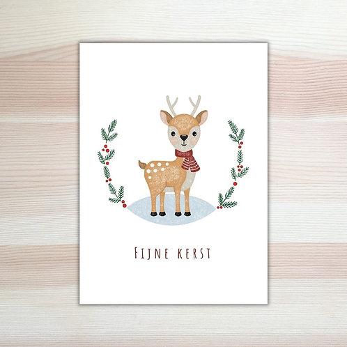 Kerstkaart Hertje 'Fijne kerst'