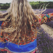 Sister Bex have a ball in the sun jacket in the Lavender fields this summer