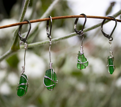 Recycled Green Yorkshire Seaglass Stainless Steel Leverback Earrings