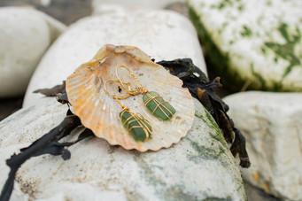 22 Kt Gold Bottle Green Yorkshire Seaglass Earrings