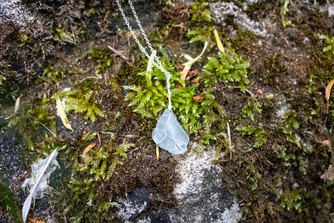 Recycled Blue Sea Glass Hand Crafted Sterling Silver Necklace