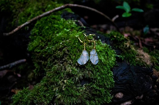 Ice White Yorkshire Sea Glass 22kt Gold Earrings